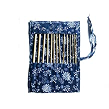 "14 pcs of bamboo afghan 34cm/14"" crochet hooks with case - wood craft set by TARGARIAN"