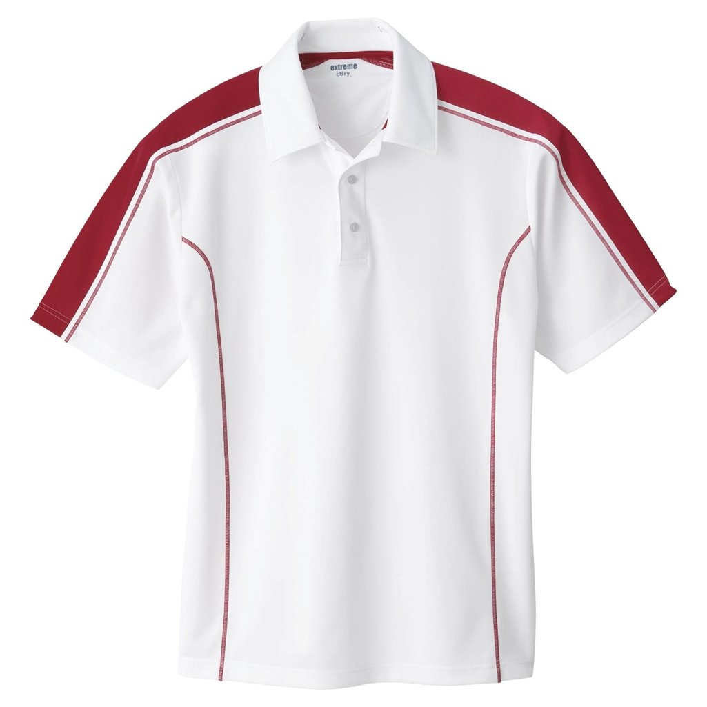 Ash City Mens Eperformance Extreme Pique Color Block Polo Shirt (XXXX-Large, White/Classic Red) by Ash City - Extreme