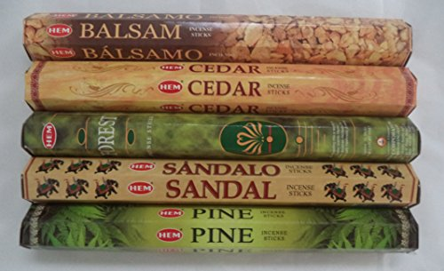 Hem Incense Variety Set: Forest * Balsam * Cedar * Pine * Sandal 5 x 20, 100 Sticks