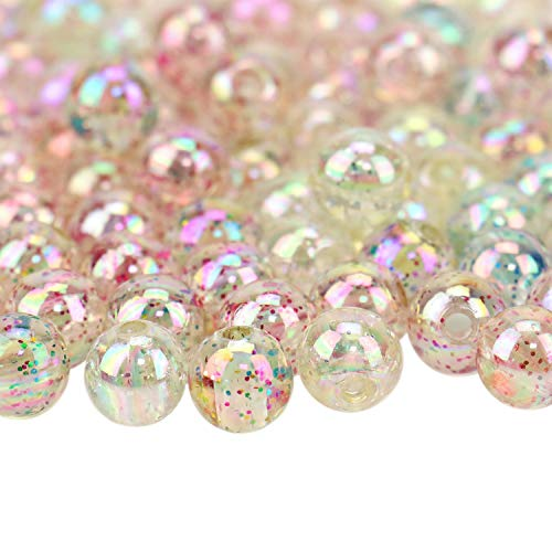 JETEHO Pack of 200 Pcs Round Mixed Color Loose Beads Acrylic Beads with Colorful Glitter Powder for Jewelry Making -