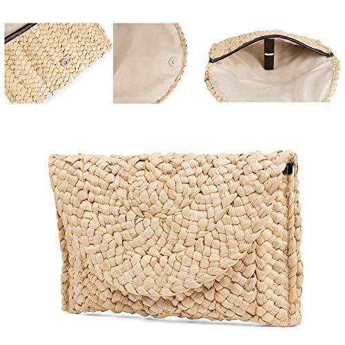 - Natural Straw Clutch Bag Handbag for Women,Straw Woven Purse Envelope Bag Wallet