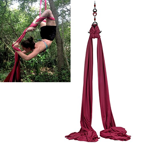 F.Life Aerial Silks Standard Kit Pilates Yoga Flying Swing Aerial Yoga Hammock Silk Fabric for Yoga (10 Yards of Fabric) (Burgundy)