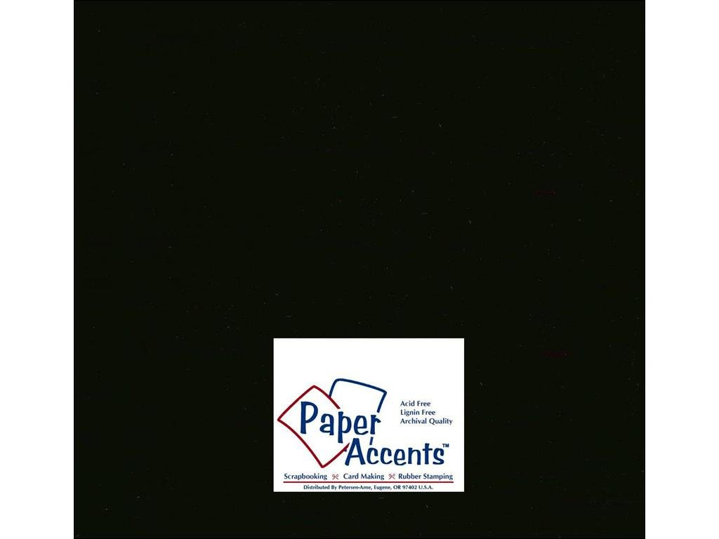 Accent Design Paper Accents ADP1212-250.127 No.80 12'' x 12'' Black Bulk Smooth Card Stock