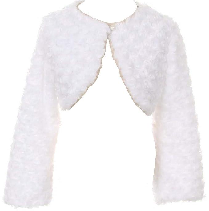 92c102ec7 Amazon.com  P Dreamer P Little Girls Fluffy Faux Fur Swirl Bolero ...