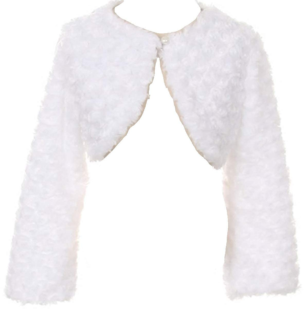 P Dreamer P Little Girls Fluffy Faux Fur Swirl Bolero Jacket Winter Knit Sweater
