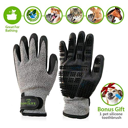 Pet Hair Remover – Horse Dog Cat Bunny Grooming Gloves – Cat Brush Glove – Deshedding Glove Grooming – Dog Bathing Glove Massage Brush -Long & Short Fur – Dog Gifts – 1 Silicone Toothbrush