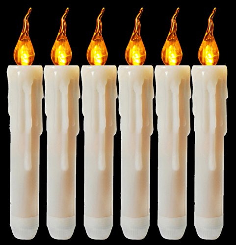 Halloween Taper Candle - Flameless Yellow Flickering Led Taper Candle Battery Operated Vivid Fake Wax Dipped Amber Flicker Led Small Candles For Christmas Halloween Warm Glow Window Votive For Candlesticks Table Decor 6 Pack