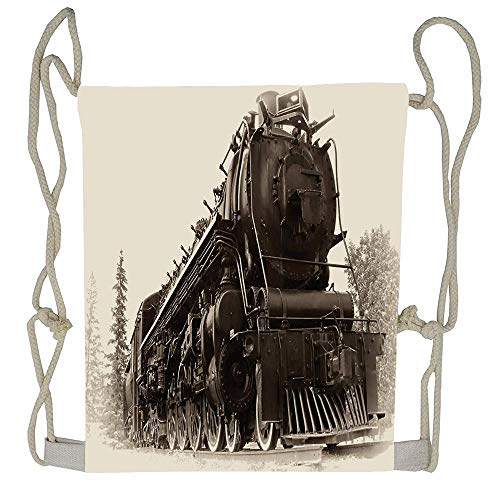 Cellcardphone Steam Engine Set Antique Northren Express Train Canada Railways Photography Freight Machine Print Un-faded Lightweight Durable Drawstring Bag Training Beautiful Drawstring Backpack