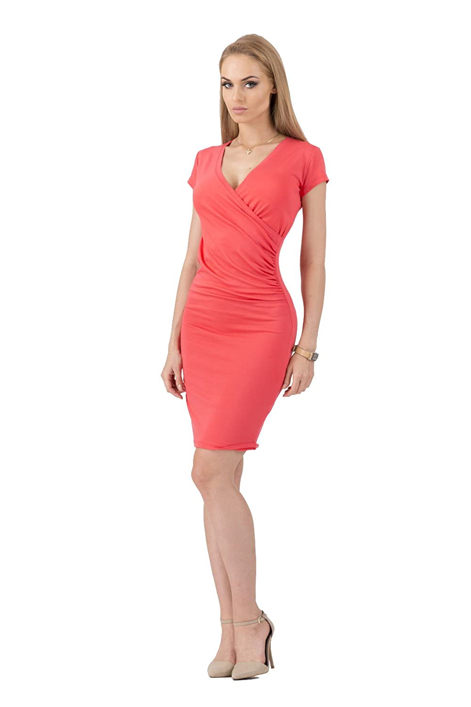 Kleid V-Ausschnitt Sommerkleid Mini Kleid in 10 Farben Gr. 36 38 40 42 44 46, 8984