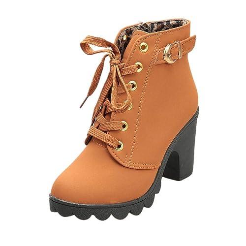 Botas Mujer Logobeing Zapatos Botines de tacón Alto para Mujer de tacón Alto con Cordones de Moda para Mujer Botas de Moto Cuero 35-40: Amazon.es: Zapatos y ...