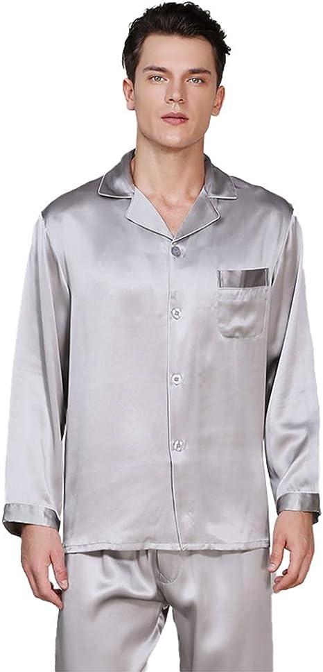 Camisas De Dormir para Hombre Ropa De Dormir Pijamas De Seda 100% para Hombres Conjunto De Manga Larga para Hombres 19 Pijama Pesado Mumi Gusano De ...