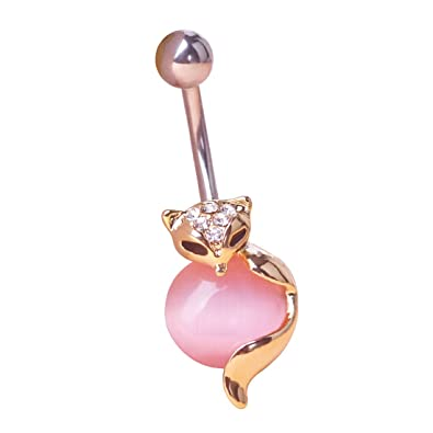 Mechosen Fox Belly Button Ring Surgical Steel Body Jewelry