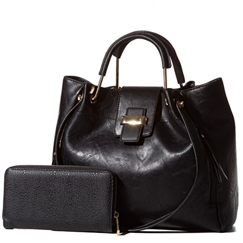 Handbag-Republic-Womens-Satchel-Style-Top-Handle-Shoulder-Bag-Vegan-Leather-Purse-With-Matching-Wallet