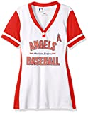 MLB Los Angeles Angels Of Anaheim Women's Rugged Competitor Fashion Top, Medium, White/Athletic Red