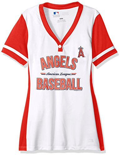 MLB Los Angeles Angels Of Anaheim Women's Rugged Competitor Fashion Top, Medium, White/Athletic Red - Los Angeles Angels Jersey