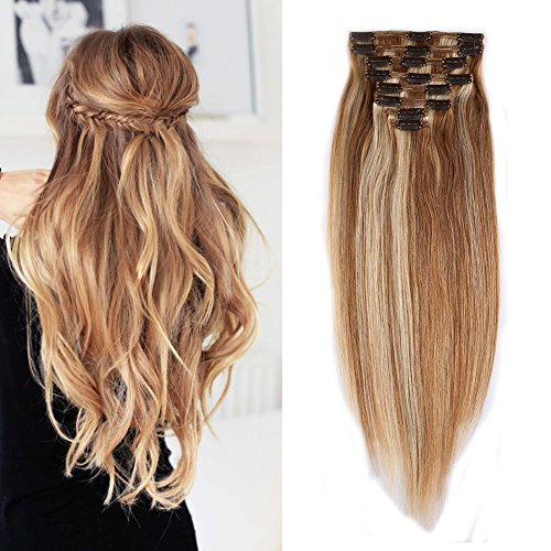 - Double Weft 100% Remy Human Hair Clip in Extensions Highlight Highlighted Grade 7A Quality Full Head Thick Thickened Long Straight 8pcs 18clips (18