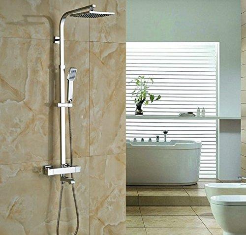 GOWE Bath Rainfall Shower Set Faucet Thermostatic Shower Chrome Polish Exposed 0