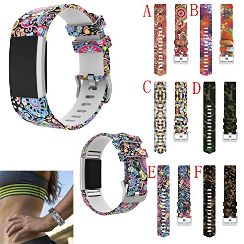 Cheap For Fitbit Charge 2 Bands,PrettyW Sport Silicone Replacement Wristband Wrist Strap For Fitbit Charge 2 – Large Small New Printed 6 Colors (6 Pack(A~F))