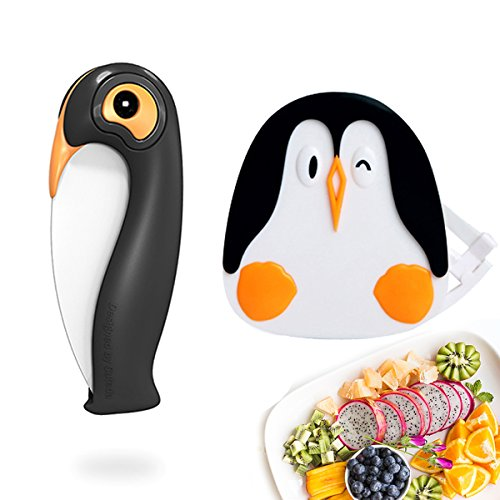 Ceramic Paring Knife and Fruit Vegetable Peeler Set, Small Ceramic Folding Knife, Cute Penguin Black Handle, Gift Ideas (2 Pack)