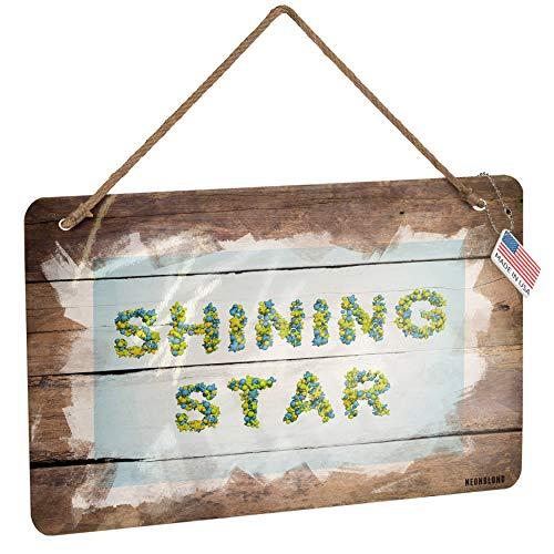NEONBLOND Metal Sign Shining Star Stars Green Blue Rendering Christmas Wood Print