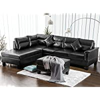Haper & Bright Designs Sectional Sofa Set Bonded Leather L-Shaped 3 Piece Sofa with Ottoman