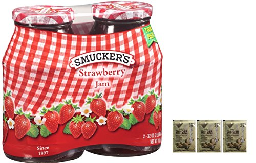 Smucker's Strawberry Jam 2/32oz. jars Twin Pack Plus a Free Gift Instant Ginger Honey Crystals
