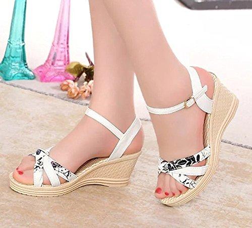 Minetom Femme Eté Fleur Impression Sandales Compensé Mode Multi-bride Corde Talon Compensé Plateforme Chaussures TayMIby0M