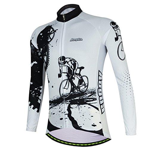YIDUN Men's Bicycle Jersey Thermal Fleece Long Sleeve Reflective Race White Size XXXL Race Thermal