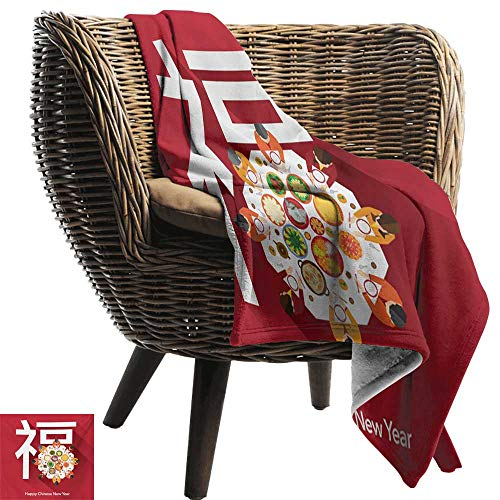 BelleAckerman Camping Blanket,Chinese New Year,Happy Family Sitting on The Festive Dinner Table with a Big White Letter,Multicolor,Flannel Blankets Made with Plush Microfiber 50