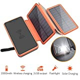 Portable Solar Charger 20000mAh, Elzle Qi Wireless Power Bank with 3 Solar Panels, Flashlight, Dual 5V/2.1A USB Ports Waterproof External Battery Pack Compatible with Smartphones, Tablets, etc.