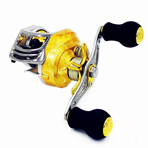 Mavllos Baitcasting Fishing Reel 19 Bearings 6.3:1 Ratio Left Right Hand for Freshwater Saltwater Color Gold