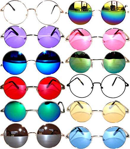 a18cea06534 12 Round Retro Vintage Circle Tint Sunglasses Metal Frame Colored Lens OWL  brand