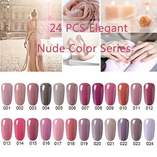 CLAVUZ Gel Nail Polish 24pcs Soak Off Gel Nail Polish Kit Nail Art Manicure Pedicure New Starter Nude Color Gift Set