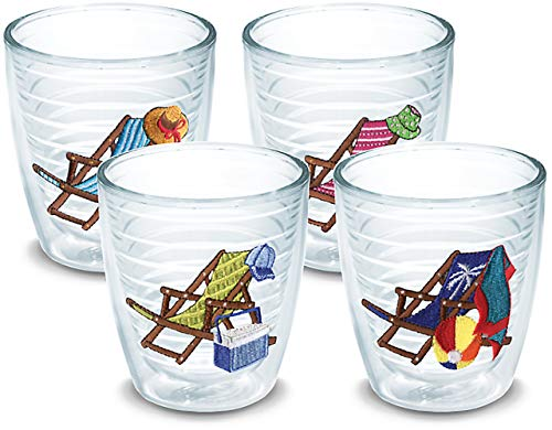 Tervis 1036041 Beach Chair Assorted Tumbler with Emblem 4 Pack 12oz, Clear