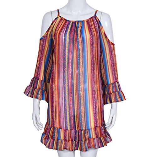 iris Multicolor de arco la mujeres con suelta impresión de la de flecos de de playa gasa del Fringe Amlaiworld la las Vestido Vestido Tgxqcc6B