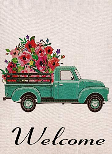 Selmad Home Decorative Vintage Floral Truck Garden Flag Double Sided, Burlap Flower Welcome Quotes Old Farm Pickup House Yard Decoration, Rustic Seasonal Outdoor Décor Flag 12.5 x 18 Spring Summer ()