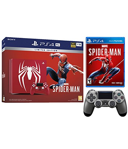 Playstation 4 Pro Marvel's Spider-Man Limited Edition Amazing Red 1TB Console and Extra Steel Black Dualshock Wireless Controller Bundle