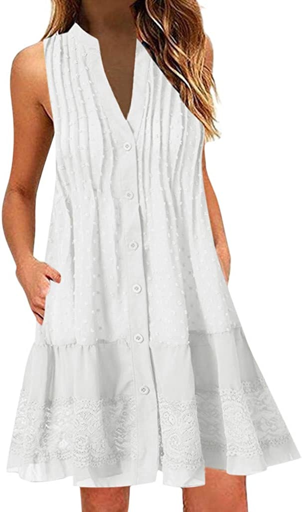 Women Summer Sleeveless Pockets Casual Swing T Shirt Dresses Beach Cover up Plain Pleated Tank Dress by Chaofanjiancai