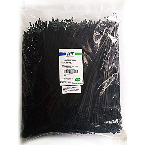 HS UV Protected (1000 Pack) Zip Ties 12 Inch Self Locking Plastic Ties 12 Inch Black Nylon Cable Ties 50 LBS,Outdoor Indoor Purpose (Ties Zip 1000 Pack)