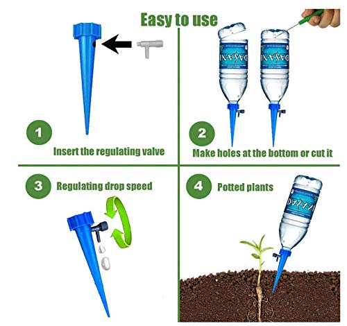 Adjustable Self Watering Spikes.Indoor Outdoor Plastic Bottle Garden Plants Drip Irrigation Spike System. Works as Watering Bulbs or Globes Stakes with Screw Valve (Blue&Green)