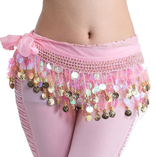 (Pilot-trade Women's Handmade Belly Dance Hip Scarf Lively Style Bead Coins Wrap Skirt Belt Pink)