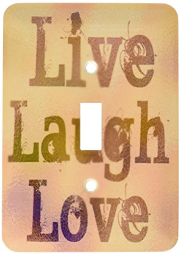 3dRose lsp_37954_1 Stained Glass Peach Live, Laugh, Love- Inspirational Words- Motivational Single Toggle Switch