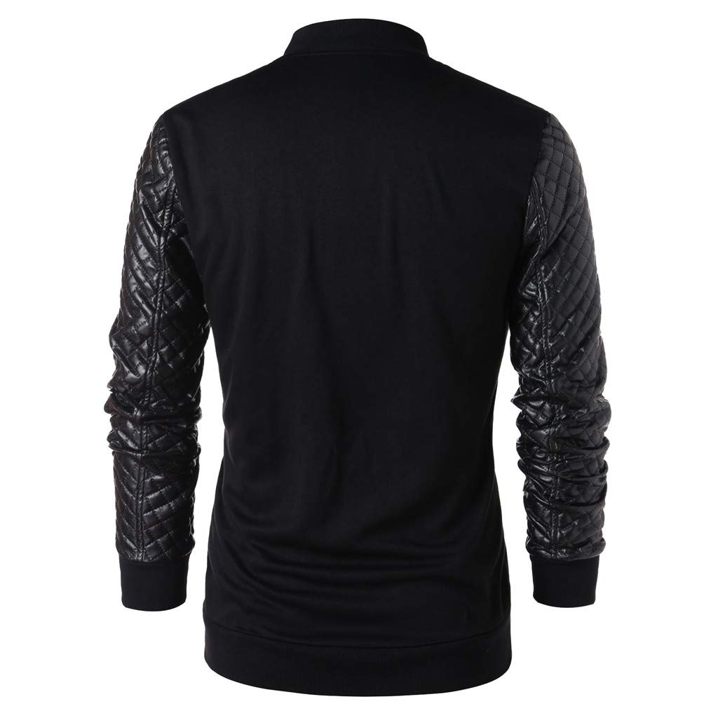 RAISINGTOP Men Jacket Leather Slim Fit Zipper Stand Collar Long Sleeve Tops Blouses Motorcycle Jackets Outerwear