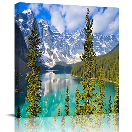 Modern Giclee Canvas Prints Stretched Artwork,Calgary Lake Rock Mountain Pictures to Photo Paintings on Canvas Wall Art for Home Office Decorations Wall Decor,12 x 12 Inch]()