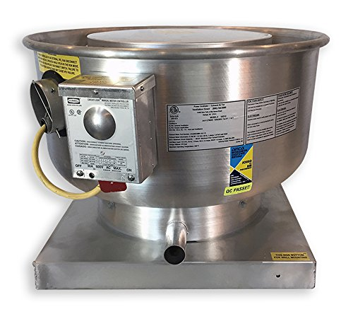Concession Hood Exhaust Fan (1500 CFM Direct Drive Upblast Food Truck Concession Trailer Exhaust Fan with Mounting Bracket - Motor: .5 HP / 115 V / Single Phase / Speed Control)