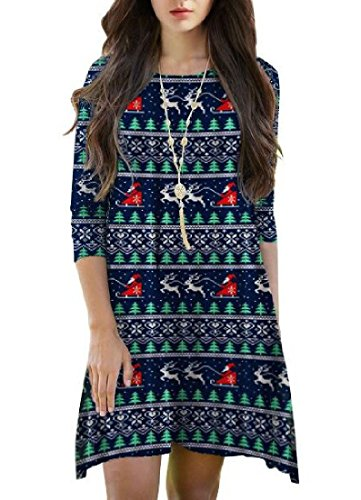 A Autumn Comfy Floral Picture Christmas As Dress Women Printed Line Winter UYwYE7qp