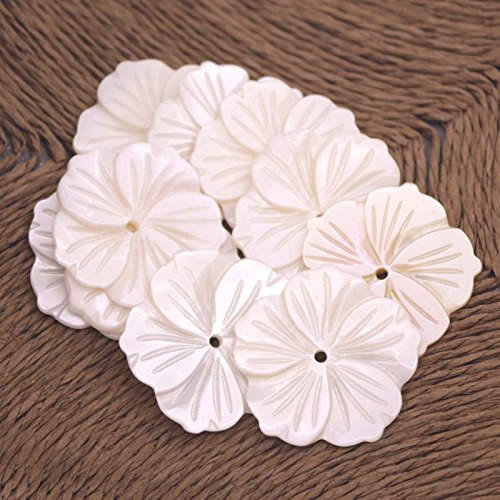 10 PCS White Mother of Pearl 28mm Flower Shell Necklace Pendant Jewelry Making