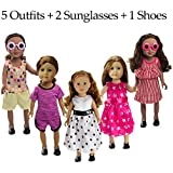 BeYumi 8 Pcs Doll Clothes Set – 5 Outfits + 2 Sunglasses + 1 Pair of Shoes, Doll Accessories Fit for 18 Inch American Girl Dolls or Other Dolls, Great Gift for Girls