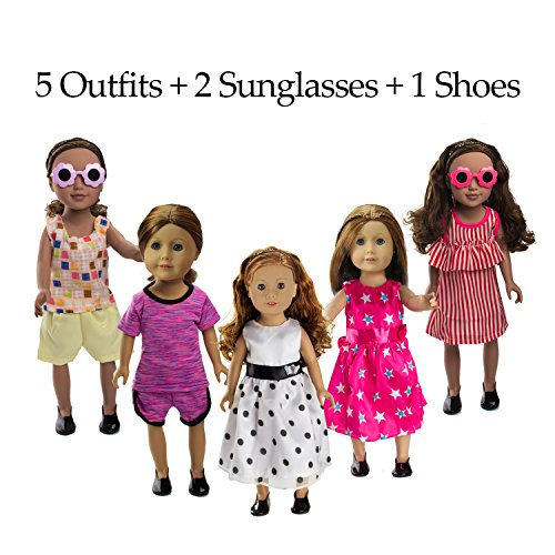 BeYumi 8 Pcs Doll Clothes Set – 5 Different Styles Outfits + 2 Sunglasses + 1 Pair of Shoes, Doll Accessories Fit for 18 Inch American Girl Dolls or Other - Pack 7 Sunglasses
