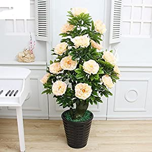 FYYDNZA Indoor Simulation Tree Simulation Plant Potted Artificial Flower Indoor Simulation Tree Decoration Jujube Green Plant Large Landing,Glorified Peony Champagne Pot Grass 101